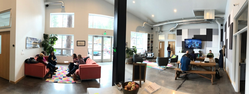 Examples of different workplaces within the lobby of Cowork Tahoe
